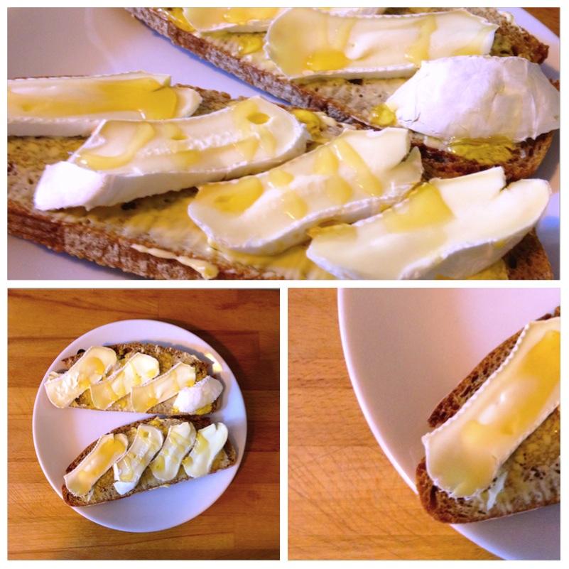 Brot mit Weichkäse und Honig