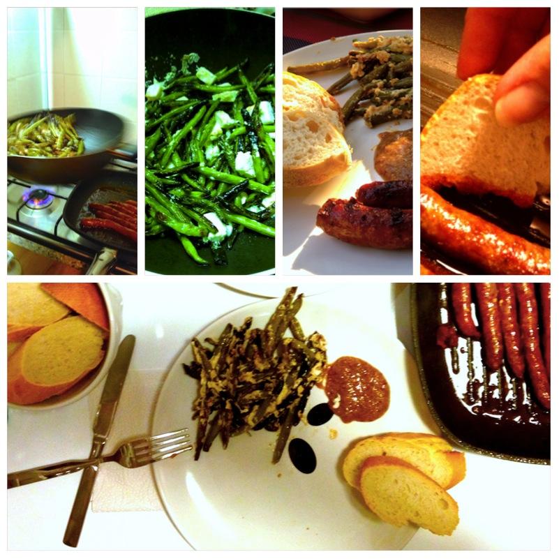 Merguez mit gebratenen Bohnen, Feta und knusprigem Baguette