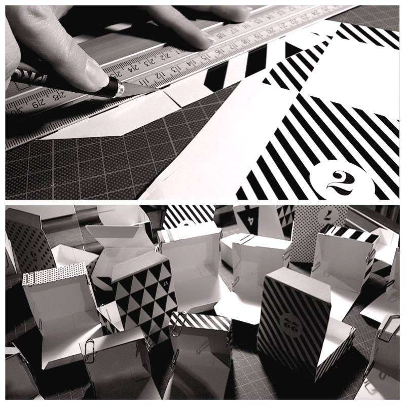 DIY Adventskalender in Schwarz-Weiß