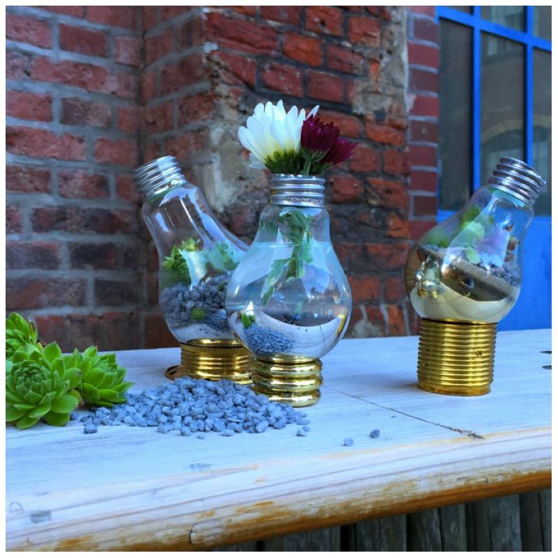 Vasen und Terrarien aus alten Glühbirnen von eat blog love